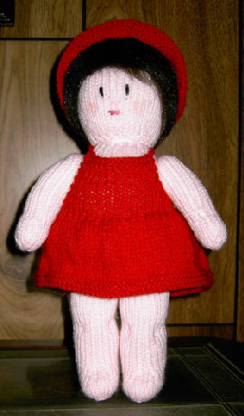 Free Knitted Doll Pattern : Knitting Pattern Central - Free Pattern - Amy Doll Sun Dress And Hat